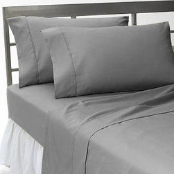 SCALA - 400TC Solid Elephant Grey Twin Flat Sheet & 2 Pillowcases - Redefine your everyday elegance with these luxuriously super soft Flat Sheet . This is 100% Egyptian Cotton Superior quality Flat Sheet that are truly worthy of a classy and elegant look.