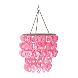 "WallPops - Cupid Chandelier - The Cupid chandelier is too sweet to resist for any girls room! Two-tiers of pink hearts and clear beads make a glamorous 3D accent. Not just for walls anymore, add the finishing touch with a WallPops chandelier! This chandelier is 10 1/4"" in diameter and 20 3/4"" high. The Cupid Chandelier does not include a lighting fixture or cord set, but does fit over a standard lantern bulb and cord, not to exceed 40 watts.  Imported."