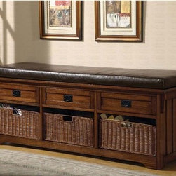 Wildon Home � - Upland Wooden Entryway Storage Bench - Features: -Casual style.-Three drawers and three woven baskets.-Medium brown finish on the base.-Distressed: No.-Collection: Storage.Dimensions: -Overall Product Weight: 104.28 lbs.