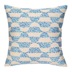 Trina Turk - Trina Turk Ventura Pillow-Blue - The Blue Ventura Pillow by Trina Turk is part of a line infused with bold signature prints and unique dynamic hues, Trina's modern and optimistic outlook meld the best of classic American design with a California confidence, incorporating beautiful fabrications and impeccable quality for the effortless elan and carefree glamour.