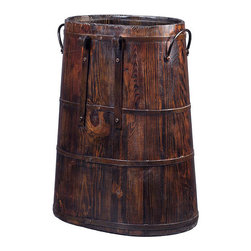 None - Vintage Chinese Barrel with Iron Rings - Handcrafted from natural elm with distressed finish, this antiqued wooden bucket is complete with side iron rings and handles. Each piece will have a distinct and unique look that will add to the decor of your home.