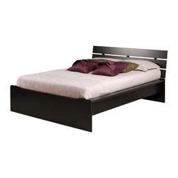 """Prepac - Avanti Black Queen Platform Bed with Integrated Headboard - With its sleek urban looks, the Avanti Queen Platform Bed with Integrated Headboard is more than just a practical addition to your bedroom. The integrated headboard offers a clever alternative to buying a bed and headboard separately, and its three horizontal slats will complement any modern space. The gently sloped headboard provides the perfect position for reading or watching television in bed. A 3"""" deep recess ensures that your mattress will fit snugly within the bed frame and sides are finished with sturdy 3 1/2""""wide rails. Storage space underneath the platform is ideal for baskets or tote boxes. Add your own queen-sized mattress and finish up your bedroom look.; Suitable for queen-sized mattresses; Integrated headboard has three horizontal slats; Wooden slats provide mattress support; Finished in durable deep black laminate; Constructed from CARB-compliant, laminated composite woods; Ships Ready to Assemble, includes an instruction booklet for easy assembly and has a 5-year manufacturer's limited warranty on parts; Proudly manufactured in North America; Dimensions: 68.5""""W x 35""""H x 86.25""""L"""