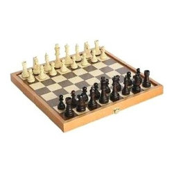 Cambor - Cambor Combo Stained Brown & Maple Chess Set w Storage Board - Made of Wood. Stained Brown and Maple color. Inlaid self storage board. King: 3 in.. 14 in. L x 7 in. W x 3 in. H (3 lbs.)