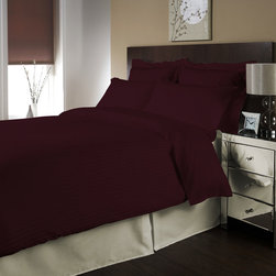 "Egyptian cotton Sheet Set With 28"" Deep Pocket 500 TC Stripe ( King , Wine ) By - Set include 1 Fitted sheet(76 x 80 inches), 1 Flat sheet(108 x 102 inches�) and 2 king-size pillowcases(20x 40 inches��) only."