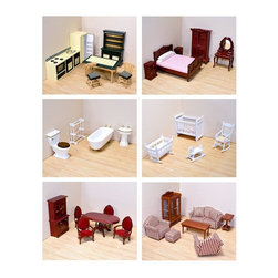 """Melissa & Doug - Melissa and Doug 6 Room Furniture Set-1 Inch Scale - MAD091 - Shop for Dollhouses and Dollhouse Furnishings from Hayneedle.com! The Melissa and Doug 6 Room Furniture Set comes with everything you need to furnish your dollhouse with Victorian charm. This package set includes furniture for the following six rooms: living room kitchen bedroom nursery bathroom and dining room. Each piece is simple and elegant yet exquisitely detailed. Together these furniture sets will evoke a sense of familiar comfort and nostalgia. Please note that this furniture set includes small pieces and is not recommended for children under the age of 3. Victorian Living Room Set includes: Couch with 2 pillows 2 upholstered chairs Ottoman Coffee table Side table Curio cabinet Victorian Kitchen Set includes: 2 chairs Kitchen table Sink and countertop 4-burner range Refrigerator Bakers rack Victorian Bedroom Set includes: Bed 2 nightstands Vanity Wardrobe Victorian Bathroom Set includes: Bathtub Toilet Sink Towel rack Victorian Bathroom Set includes: Crib Rocking chair Rocking horse Cradle Victorian Dining Room Set includes: Dining table 4 chairs China cabinet About Melissa and Doug ToysSince 1988 Melissa and Doug have grown into a beloved children's product company. They're known for their high-quality educational and imaginative toys. The Melissa and Doug company has been named Vendor of the Year by such great retailers as FAO Schwarz Toys R Us and Learning Express and their toys have been honored as """"Toys of the Year"""" by Child Magazine FamilyFun Magazine and Parenting Magazine. Melissa and Doug - caring quality children's products."""