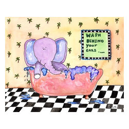 Oh How Cute Kids by Serena Bowman - Wash Behind Your Ears, Ready To Hang Canvas Kid's Wall Decor, 8 X 10 - I created this in hopes it would serve has reminders to my kids.  Make the bathroom a fun place and maybe just maybe the kiddies will actually go wash there hands and brush their teeth??  Here's to hoping!