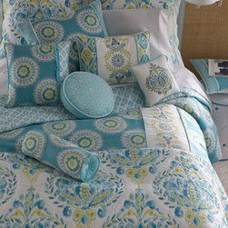 """Dena Home - Dena Home King Breeze Quilt, 104"""" x 90"""" - Quilting, embroidery, and a lively mix of prints comprise the """"Breeze"""" bed linens collection from Dena Home. Imported. Quilted linens have a white ground; """"Azure Sky"""" linens have blue ground. Comforters are reversible; standard and king shams feature...."""