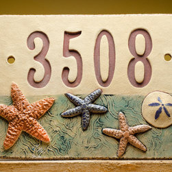 Handmade Ceramic House Number Sign, Beach by Fine Clay Art - This nautical-style number plaque would be really cute on the door leading into an actual beach bungalow.