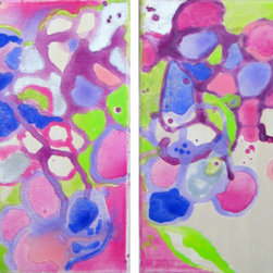 """Jubilee 1 And 2 (Original) by Devika Keskar - Adorable spring blooms in purple and pink adorn this piece and a bright green provides lush punctuation on an ivory backdrop. A metallic silver adds a bit of glimmer to this spring painting. This 8""""x10"""" piece will add a splash of color and happiness to any space. Hang it on a wall or display on a mantel on a small easel."""