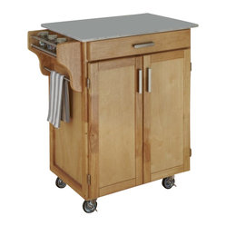 Home Styles - Home Styles Cuisine Cart in Natural Finish with Marble Top - Home Styles - Kitchen ...