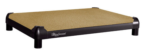 DoggySnooze - snoozePad, Anodized Frame, Short Legs - This luxurious elevated dog bed features clean lines that will complement your contemporary decor — and it's even chew resistant! Use this bed indoors or out as a favorite resting spot for your four-legged friend — or buy two. Made in the USA and available in three sizes, with optional black anodized frame, long legs and memory foam.