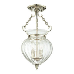 "Hudson Valley - Hudson Valley Gardner Polished Nickel Ceiling Fixture - This sophisticated ceiling light is perfect for your traditional or transitional style home decor. A decorative clear glass open globe is suspended from a glistening polished nickel canopy by three elegant chain attachments. Three candle-style lights glow from atop a polished nickel base inside the glass. A beautiful fixture from Hudson Valley Lighting. Solid brass construction. Polished nickel finish. Clear glass. Takes three 60 watt candelabra bulbs (not included). 15 1/2"" high. 9 1/4"" wide. Canopy is 5 1/4"" wide.  Solid brass construction.  Polished nickel finish.   Clear glass.   Takes three 60 watt candelabra bulbs (not included).   15 1/2"" high.   9 1/4"" wide.   Canopy is 5 1/4"" wide."
