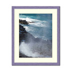 "Frames By Mail - Wall Picture Frame Hammered Purple pearlized finish with a white acid-free matte - This 8X10 hammered purple pearlized finish picture frame is 1"" wide and has a white matte, for a 5x7 picture, can be removed to accommodate a larger picture.  The frame includes regular plexi-glass (.098 thickness) foam core backing and can hang either horizontal or vertical."