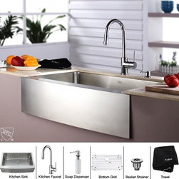 Kraus - 33 in. Farmhouse Single Bowl Sink and Faucet with Soap Dispenser - Add an elegant touch to your kitchen with unique Kraus kitchen combo