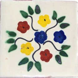 "Casa Daya Tile - Hand Made and Painted Floral Pattern Cottage Style Tile Set - Set of twelve 4"" x 4"" tiles for your craft or construction project."