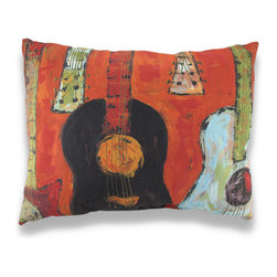 Manual - Strung Up Guitar Print Indoor/Outdoor Pillow 24 x 18 In. - This pillow adds some color to your porch, patio, or inside your home featuring a watercolor style guitar print for the music lover. The Climaweave fabric is durable, fade and moisture resistant, and is sure to look and feel great for years, wherever you display it. It is made of 100% polyester, from the cover to the soft stuffing, and it measures 24 inches by 18 inches. Recommended care instructions are to spot clean, only. This pillow makes a great gift that is sure to be loved, year after year. Made in the U.S.A.