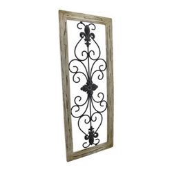 distressed wooden tan frame wrought iron fleur de lis wall. Black Bedroom Furniture Sets. Home Design Ideas