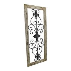 distressed wooden tan frame wrought iron fleur de lis wall