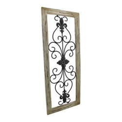 Distressed Wooden Tan Frame Wrought Iron Fleur de Lis Wall Decor 30 X 12 In. - This antique distressed fleur de lis wall decor speaks of a long glorious life on the Champs-Elysees. Now, this beautiful piece of black wrought iron art can be displayed in your own home. A single metal wall hanger on the reverse of the distressed tan wooden frame allows it to hang vertically from a single nail or wall hook. The wall hanger may be easily unscrewed and repositioned to hang horizontally. The remarkable frame measures 30 inches tall, 12 inches wide, and 1 inch deep. This classic piece is an excellent cultural home accent with neutral colors that would look decidedly elegant in any setting.