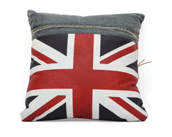 ZUO ERA - Cowboy Cushion Blue Denim w/ UK Flag - Made from recycled denim fabric sewn into a whimsical design, the Cowboy cushion is a must for any room.