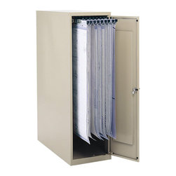 "Safco - Safco Large Vertical 1 Drawer Metal File Cabinet for 18/24/30/36"" Hanging Clamps - Safco - Filing Cabinets - 5041 - This small office vertical storage file cabinet features steel construction and holds an amazing 1200 documents on twelve hanging clamps (clamps sold separately). Easily access stored documents with a suspended track that smoothly slides in and out of the cabinet on steel ball-bearing rollers. The piano-hinged steel reinforced door can be mounted on left or right hand side and comes with a key locked handle. Shipped ready to use."