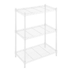 Whitmor - Supreme 3-Tier Shelf Unit - White, by Whitmor - Expand the shelf space in your kitchen, laundry room, basement, bathroom, office or anywhere you need extra storage throughout the house with our white Supreme Small 3-Tier Shelving Unit. This durable shelf unit is constructed of heavy duty white epoxy steel featuring shelves that each has a 200 pound weight capacity.