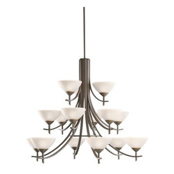 """Kichler Lighting - Kichler Lighting 1681OZW Olympia Transitional Chandelier - The olympia collection brings a modern twist on the classic aesthetic to create a new form the likes of which has not been seen before. The curvilinear, flowing arms of these chandeliers, pendants, and all wall sconces create a clean, contemporary profile for your home. The Olde Bronze finish combined with Sunset Marble glass diffusers and shades present a neutral color palate capable of matching any modern decor. This handsome 3-tiered chandelier is one of the largest in the olympia collection . Its 15-light design employs 60-watt (max.) bulbs for superb lighting power making it the perfect showpiece for any large, open room. It measures 42"""" in diameter wih a 34"""" body height."""