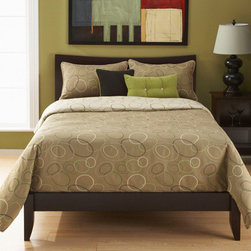 Siscovers - Spring Mix Sage Green and Charcoal Six Piece Queen Duvet Set - - Interconnecting elliptical shapes  - Set Includes: Duvet - 94x98, Two Queen Shams - 30x20, One Decorative Pillow - 16x16, One Decorative Pillow - 26x14  - Inserts: Polyester  - Duvet Material: 60% Rayon, 40% Polyester  - Sham Material: 100% Polyester  - Pillow Material: 100% Polyester  - Additional Colors: Mint and Avocado  - Workmanship and materials for the life of the product. SIScovers cannot be responsible for normal fabric wear, sun damage, or damage caused by misuse  - Reversible Duvet and Shams  - Care Instructions: Dry Clean Only  - Made in USA of Fabric made in China Siscovers - SPMI-XDUQN6