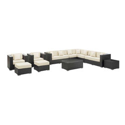 Modway - Cohesion 11 Piece Sectional Set in Espresso White - Preside steadfastly at each assembly as concurrent movements take you forward. The Advance Outdoor Sectional Set brings you to a place of carefully considered output and restorative order. Embrace a homeostatic system where precise handiwork help you attain true collectivity.