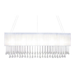 Lightupmyhome - White Rectangular Crystal Chandelier - This rectangular chandelier delivers on quality and beauty. It comes with 7-inch teardrop crystals from end to end. This gorgeous chandelier measures 40 inches long. The finish on this light is chrome Measurements 40 Inches in Length and 13 inches in height. This chandelier comes with 84 inches of hanging wire. It requires (6) e12 Light bulbs (not included) Must be hard wired to the ceiling canopy. Professional installation is suggested. Made of stainless steel. Assembly is required