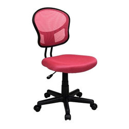 Office Star - Mesh Task Chair w Pink Fabric - One touch Pneumatic seat height adjustment 360 Swivel. Heavy duty Nylon base with dual wheel carpet casters. Pictured in Pink. Seat: 18 in. W x 17.25 in. D x 2 in. T. Back: 15.75 in. W x 16.25 in. H. Seat Travel: 4.5. Weight limit: 150 lbs.. Overall: 18 in. W x 22.5 in. D x 39.25 in. H (20 lbs.)