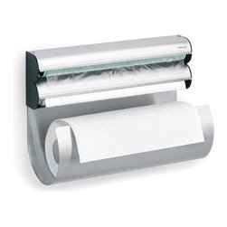 """Blomus - Blomus  Multi-Storage Holder - A great way to keep paper towel and food wrap easily accessible in your kitchen. Constructed from rust resistant stainless steel to provide years of reliable performance. Food wrap holder has serrated edges to make quick clean cuts. Paper towel roll simply rests in paper towel dispenser making roll replacement quick and easy. Mounting hardware included. 5.5""""W x 12.6""""L x 9""""H"""