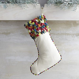Confetti Multi Pom-Pom Stocking - If you would love to have a whimsical holiday, this stocking is for you. I love the unique look and amazing texture.