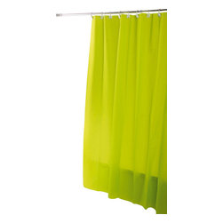 Eva Shower Curtain Anise Green - This shower curtain for bathrooms is mainly in Eva (75 % Eva and 25 % polyethylene). This neutral tone shower curtain lends a touch of elegance and style to your bathroom. Reinforced grommets and header along the top make it durable enough for long-lasting satisfaction (12 shower rings needed, sold separately). Prior to hanging, immerse curtain in a bath of warm water to help remove creases. Cleaning with soapy water only. Width 71-Inch and height 79-Inch. Color solid anise green. This shower curtain is the perfect blend of simplicity and perfect to add a decorative touch in your bathroom! Complete your decoration with other products of the same collection. Imported.
