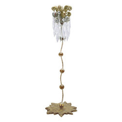 Flambeau Lighting - Flambeau Lighting CS1060M Medium Candle Stick - Venetian Medium Candle Stick with Cut Glass CrystalsThis transitional candlestick features a distressed gold leaf base which forms the foundation of a slithering steam topped with gold sculpted decorative elements and crystals. Whether as an art gallery director, sculptor, or designer of fine jewelry, Paul Gr�er a resident of the �Big-Easy� and his work, have for years been an integral part of the New Orleans art scene. Paul Gr�er's �FLAMBEAU Lighting Collection� is a gallery of sculptural, functional art that manifests itself in the form of table lamps, floor lamps, chandeliers, pendants, mirrors and sconces that are certain to add intrigue to any interior design.Features: