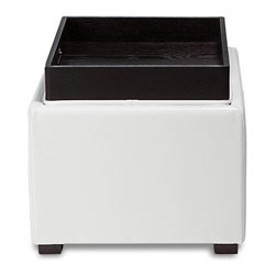 Zuri Furniture - Berg White Leatherette Storage Ottoman - Beautifully crafted, clean and simple, the Berg contemporary storage ottoman is finished in a bright white leatherette. The conveniently compact styling also features a handy removable tray top for serving.