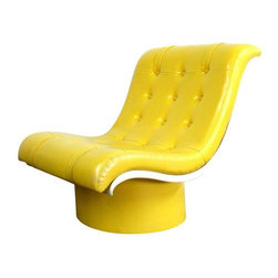 """Pre-owned Spaceage Mod Yellow Tufted Lounge Chair - 1970s bright yellow naugahyde button tufted upholstered lounge chair with white plastic shell and naugahyde covered cylinder base. This chair has its original upholstery. In good condition, some minimal spots on vinyl, a 2"""" dark thin line mark on the seat towards the front edge, and scuffs to plastic shell or base. This chair would be a great addition to your Mid-Century modern home. Seat height measures 15""""."""