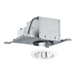 Juno Lighting Group - 6-inch Recessed Lighting Kit with Clear Alzak Trim - IC2/26C-WH - This recessed lighting kit comes complete with an air tight, double-wall construction housing and a clear Alzak� cone interior. The housing can be completely covered with insulation and vertically adjusts to accommodate up to a 1-inch ceiling thickness. The bar hangers may be re-positioned 90 degrees. The interior has a straight clear Alzak� cone with a 5-3/4 aperture and a white trim ring. Alzak� is an anodized, hand-polished aluminum reflector with superior glare reduction. Takes (1) 90-watt halogen PAR38 bulb(s). Bulb(s) sold separately. Damp location rated.