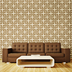 """My Wonderful Walls - Craftsmen Pattern Wall Stencil  for Painting - Mimic the modern flair of your favorite """"Mad Men"""" and bring their bold, 1960s style to your own home with our craftsmen pattern wall stencils. This high-demand interlocking pattern makes a statement in any room. Use our craftsmen pattern wall stencils for a contrast wall in your formal living room or bring a vintage theme to your man cave. You can't help but channel mid-century luxury when you choose our craftsmen pattern wall stencils for your mid-renovation upgrades. All of our craftsmen wall decor stencils are self-adhesive and require zero additional (and potentially harmful) spray adhesive on our end. Just peel and stick! Each pattern piece is 11""""w x 11""""h, and each stencil sheet is approximately 2'w x 3'h."""