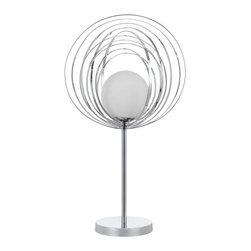 Cal Lighting - Cal Lighting BO-2329TB Orbit 1 Light Pedestal Base Table Lamp - Features: