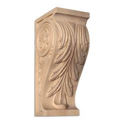 """Inviting Home - Maryland Small Wood Corbel - Maple - wood corbel in hard maple 6""""H x 2-3/4""""D x 2-1/4""""W Corbels and wood brackets are hand carved by skilled craftsman in deep relief. They are made from premium selected North American hardwoods such as alder beech cherry hard maple red oak and white oak. Corbels and wood brackets are also available in multiple sizes to fit your needs. All are triple sanded and ready to accept stain or paint and come with metal inserts installed on the back for easy installation. Corbels and wood brackets are perfect for additional support to countertops shelves and fireplace mantels as well as trim work and furniture applications."""