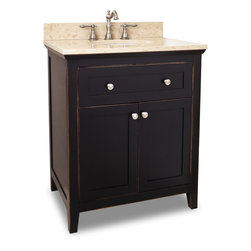 "Hardware Resources - Chatham Shaker Vanity - Chatham Shaker Vanity from Jeffrey Alexander . This 30"" wide solid wood vanity features a clean shaker design in a warm Aged Black finish. With a top drawer fitted around plumbing and spacious cabinet with adjustable shelf, there is plenty of storage space. Drawers are solid wood dovetailed drawer boxes fitted with full extension soft close slides, and cabinet features integrated soft close hinges. This vanity has a 2.5CM engineered Emperador Light marble top preassembled with an H8809WH (15"" x 12"") bowl, cut for 8"" faucet spread, and corresponding 2CM x 4"" tall backsplash. Vanity: 30"" x 22"" x 36"" (with top) . Style: Transitional. Finish: Aged Black. Materials: Birch solids and veneers. Top: 2.5CM engineered Emperador Light marble with 2CM x 4"" tall backsplash. Bowl: H8809WH. Coordinating Mirror: MIR093-24 and MIR093-30. -"