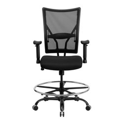 Flash Furniture - Flash Furniture Office Chairs Plastic Back Office Chairs X-GG-DA-GYS9205-LW - This attractive Big & Tall Mesh Office Chair has been tested to hold up to 400 lbs.! The flexible mesh back material and waterfall seat provides amazing comfort throughout the day. This chair allows you to adjust the amount of lumbar pressure with the built-in lumbar support. This mesh back chair has a sturdy frame with its heavy duty steel base and dual wheel carpet casters. The extra large draft ring is overextended to provide extra comfort for resting your feet. [WL-5029SYG-AD-GG]