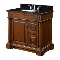 "FEBO - FEBO Bradford 37 ""W Vanity with Granite Vanity Top and Back Splash - FEBO PE F10-AE-006-023V Bradford 37 in. W Vanity with Granite Vanity Top and Back Splash, Walnut/Black"