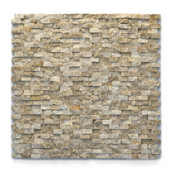 "Glass Tile Oasis - Dada Unique Shapes Cream/Beige Modern Series Tumbled Natural Stone - Sheet size:  12"" x 12""        Tile Size:  1/2""        Tile thickness:  3/8""        Sheet Mount:  Mesh Backed        Stone tiles have natural variations therefore color may vary between sheets.    Sold by the sheet    -  During manufacturing  the tiles are hand sorted into matching colors and sizes and individually glued onto mesh backing. It is not unusual to find occasional imperfections  veins and lines of separation within the stones."