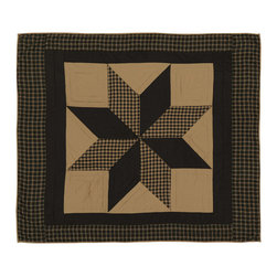 "VHC Brands - Dakota Star Black and Khaki Quilted Throw from VHC Brands - Dakota Star features a primitive black and khaki color scheme with a traditional 8 point star in the center. The throw measures 50"" x 60"" and has a 100% cotton shell.  It is hand quilted with stitch in the ditch and echo style quilting."