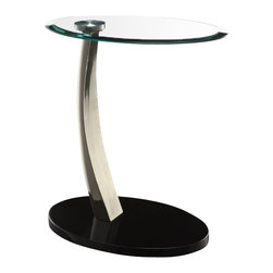 "Powell Furniture - Powell Furniture Brushed Chrome Oval Chairside Table - Powell Furniture - End Tables - 317892 - This Oval Chairside Table adds function and style to any room. The sleek design is finished in ""brushed chrome"" with black poly base and clear glass top. The perfect table for any chair or sofa side sure to fit into any decor. Some assembly required."