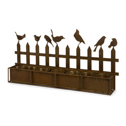 Ardene Iron Bird Planter - The Ardene Iron Bird Planter holds seven four inch pots and is topped by the silhouette of a picket fence with songbirds perched atop. This is a great way to display potted plants or to plant an indoor herb garden in your kitchen.
