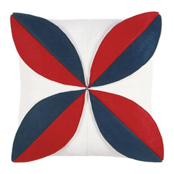 "Eastern Accents - Botany Marine Petal Pillow - A marine blue and cherry red flower pops against the white background of the Botany Petal felt pillow, a cheerful accent for a sofa, chair or bed. Handcrafted for the modern home, this decorative pillow charms with its unique fabrication, bold color palette and fresh design. 16"" Square; Hand-cut felt piecing; High quality polyester fiber pillow insert included; Zipper closure"