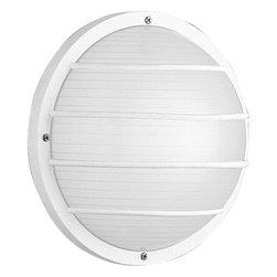 Progress Lighting - P5703-30 Polycarbonate Outdoor One-Light Wall or Ceiling Mount White - Polycarbonate light for indoor and outdoor areas. Colors will not fade and parts will not corrode. UV stabilized. UL listed for wet locations. Mount on walls or ceilings.